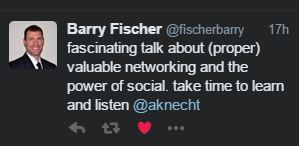fascinating talk about (proper) valuable networking and the power of social. take time to learn and listen @aknecht